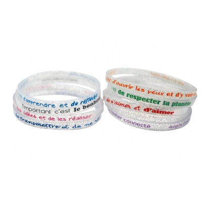 Set 10 bracelets silicone l'important c'est...