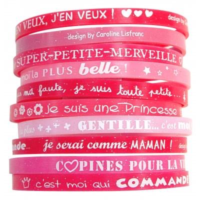 Set 10 bracelets fille rose