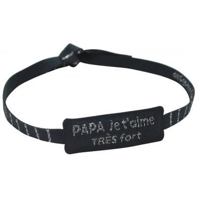 """Bracelet tissé """"Papa je t'aime très FORT"""""""